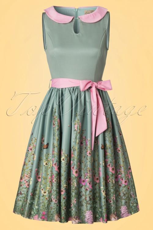 Lindy Bop Beattie Green Floral Swing Dress 102 40 21215 20170411 0003W