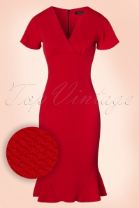 50s Peggy Waterfall Pencil Dress in Red
