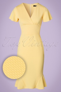 50s Peggy Waterfall Pencil Dress in Yellow
