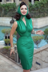 50s Loretta Pencil Dress in Sea Green