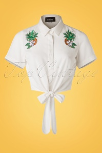 50s Sammy Pineapple Hibiscus Tie Blouse in White