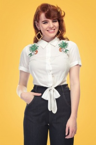 Collectif Clothing Sammy Pineapple Hibiscus Tie Shirt 20666 20161201 1