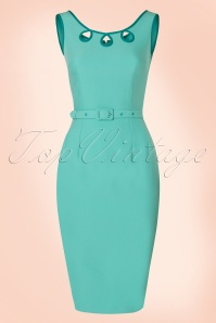 50s Karen Pencil Dress in Mint Blue