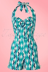 50s Kimmy Atomic Harlequin Playsuit in Blue and Jade