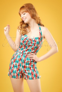 50s Kimmy Atomic Harlequin Playsuit in Red and Jade