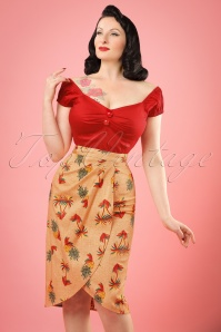 50s Kala Pineapple and Palm Sarong Skirt in Orange