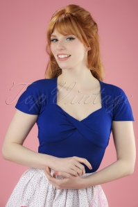 50s She Who Dares Top in Royal Blue