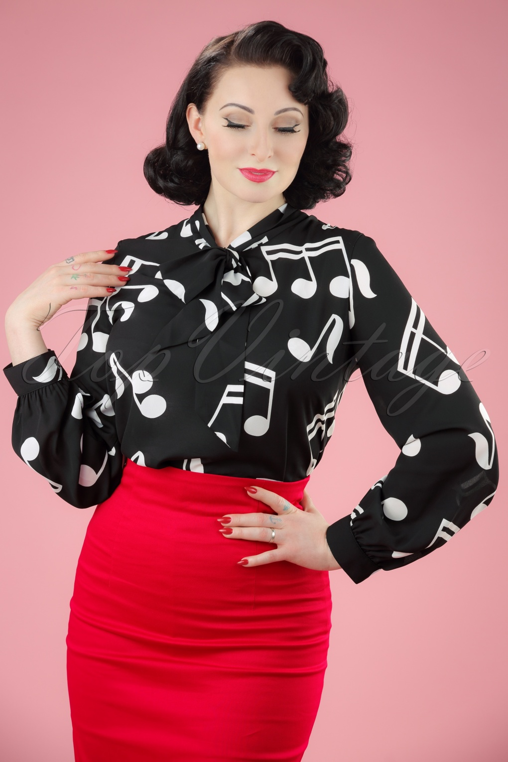 Shop 1960s Style Blouses, Shirts and Tops 60s Symphony Blouse in Black £27.26 AT vintagedancer.com