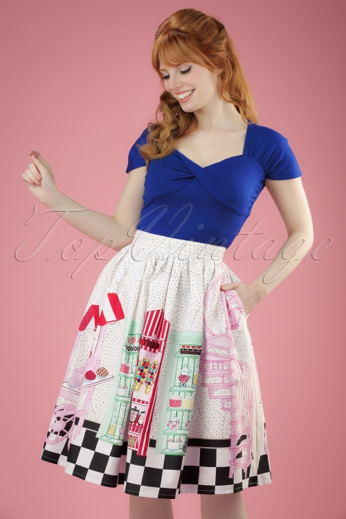 Unique Vintage 1950s Candy Shop High Waist Circle Swing Skirt 122 59 21460 01W