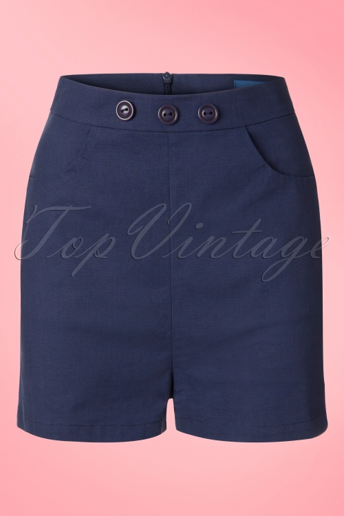 Collectif Clothing Talis Plain Shorts Navy 20852 20161130 0007W