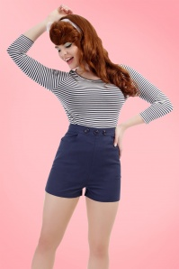 Collectif Clothing Talis Plain Shorts Navy 20852 20161130 01