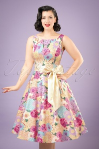 50s Margaret English Garden Swing Dress in Multi