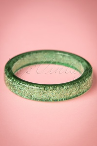 TopVintage Exclusive ~ 20s Fedora Midi Glitter Bangle in Pale Green