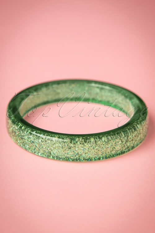 Splendette Pale Green Glitter Bangle 310 40 21150 20170412 0020w