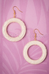 TopVintage Exclusive ~ 20s Augusta Pearl Carved Hoop Earrings in Ivory