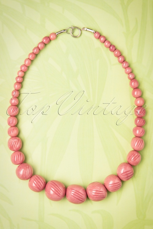 Splendette Pale Pink Sheen Carved Beads Necklace 300 22 21138 20170412 0006w