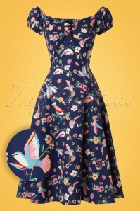 Collectif Clothing Dolores Charming Bird Doll Dress 20838 20161128 0016W!