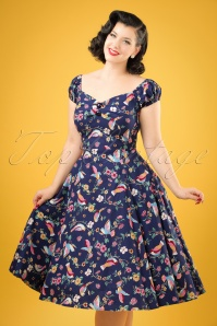 50s Dolores Charming Birds Doll Dress in Dark Blue