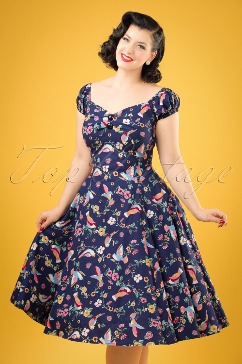 Collectif Clothing Dolores Charming Bird Doll Dress 20838 20161128 01W