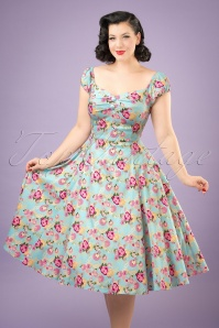 50s Dolores Peony Floral Doll Dress in Light Blue