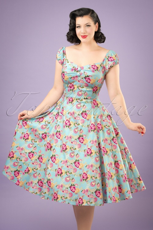 Collectif Clothing Dolores Origamii Floral Doll Dress 20840 20161128 01W