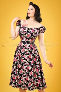 50s Dolores Peony Floral Doll Dress in Black