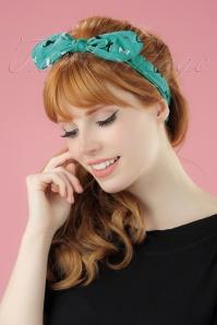 50s Mireille Cat Bandana in Turquoise