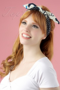 Be Bop A Hairbands Navy Polkadots Anchor 001W