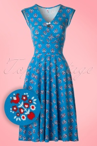 60s Upsalla Tralala Dress in Blue Blommor
