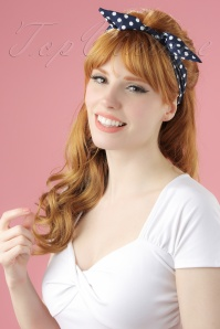 50s Pin-Up Dot Hair Scarf in Royal Blue and White