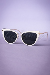 Collectif White and Gold Dita Cats Eye Sunglasses 260 50 20353 20170414 0021w