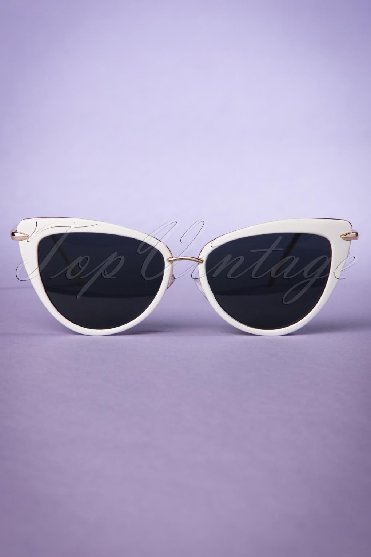 Unique Retro Vintage Style Sunglasses & Eyeglasses 50s Dita Cat Eye Sunglasses in White and Gold £16.08 AT vintagedancer.com