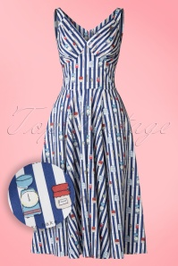 50s Odessa Bake Swing Dress in Navy Stripes