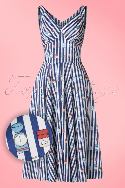 Miss Candyfloss Bake Print Striped Swing Dress 102 39 20610 20170414 0010W1