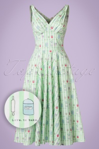 Miss Candyfloss Bake Print Mint Striped Swing Dress 102 49 20609 20170414 0010W1
