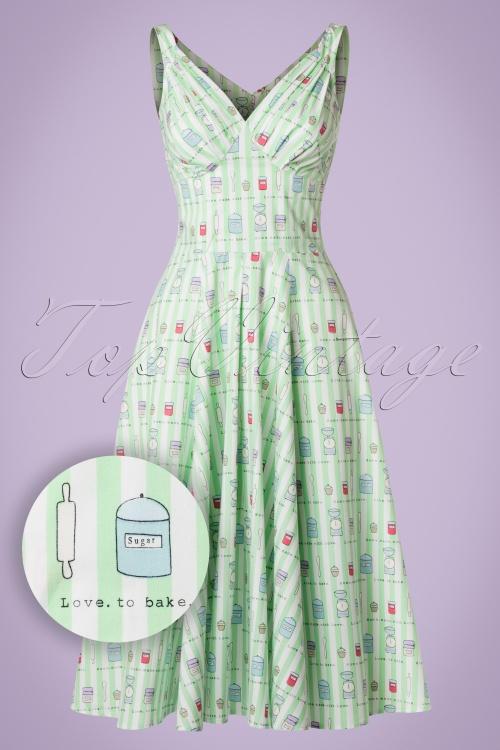 Miss Candyfloss Bake Print Mint Striped Swing Dress 102 49 20609 20170414 0010W1