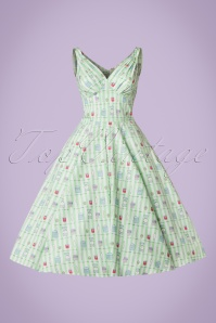Miss Candyfloss Bake Print Mint Striped Swing Dress 102 49 20609 20170414 0007W
