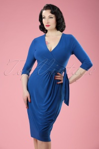 50s Layla Cross Over Pencil Dress in Royal Blue