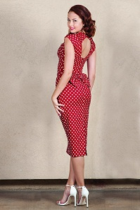 Love Polkadot Bow Pencil Dress Années 50 en Rouge