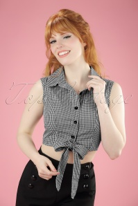 50s Clementine Gingham Top in Black and White