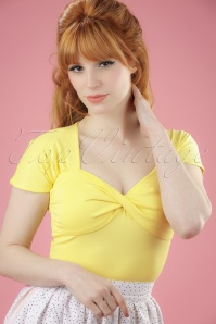 50s She Who Dares Top in Light Yellow