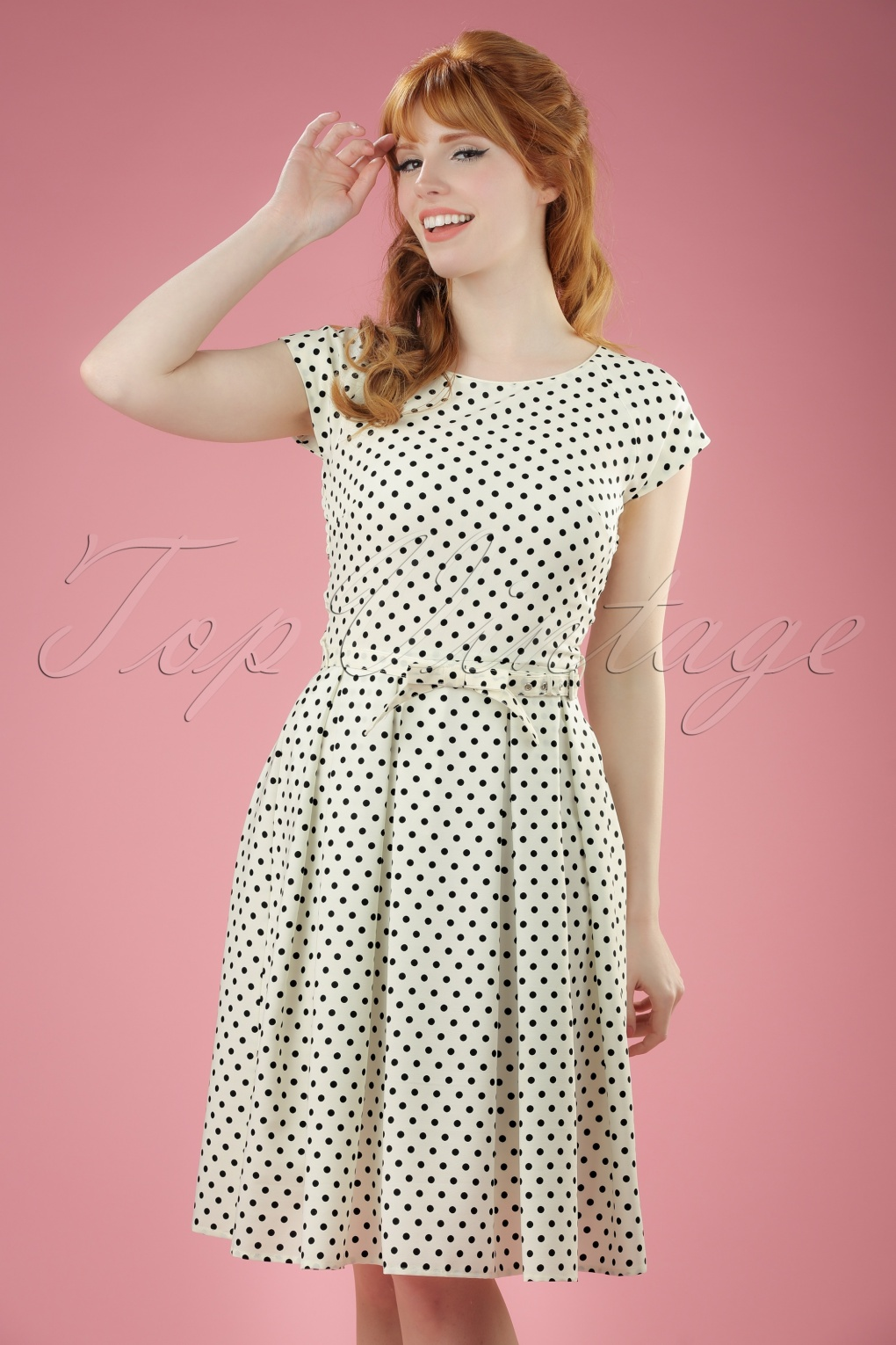 1950s Polka Dot Dresses 50s Mary Dots Prom Dress in Ivory and Black £81.57 AT vintagedancer.com