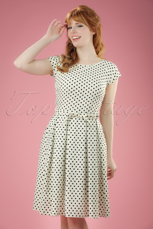 Fever Mary Polkadot Dress in Cream 102 59 20066 20170329 0011W