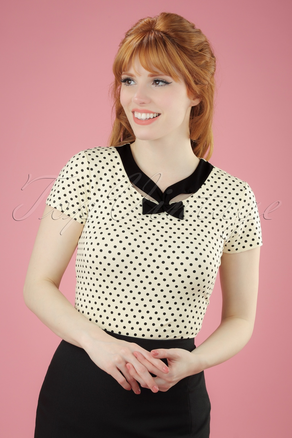 1950s Rockabilly & Pinup Tops, Shirts, Blouses 50s Holywell Polkadot Top in Cream £37.72 AT vintagedancer.com