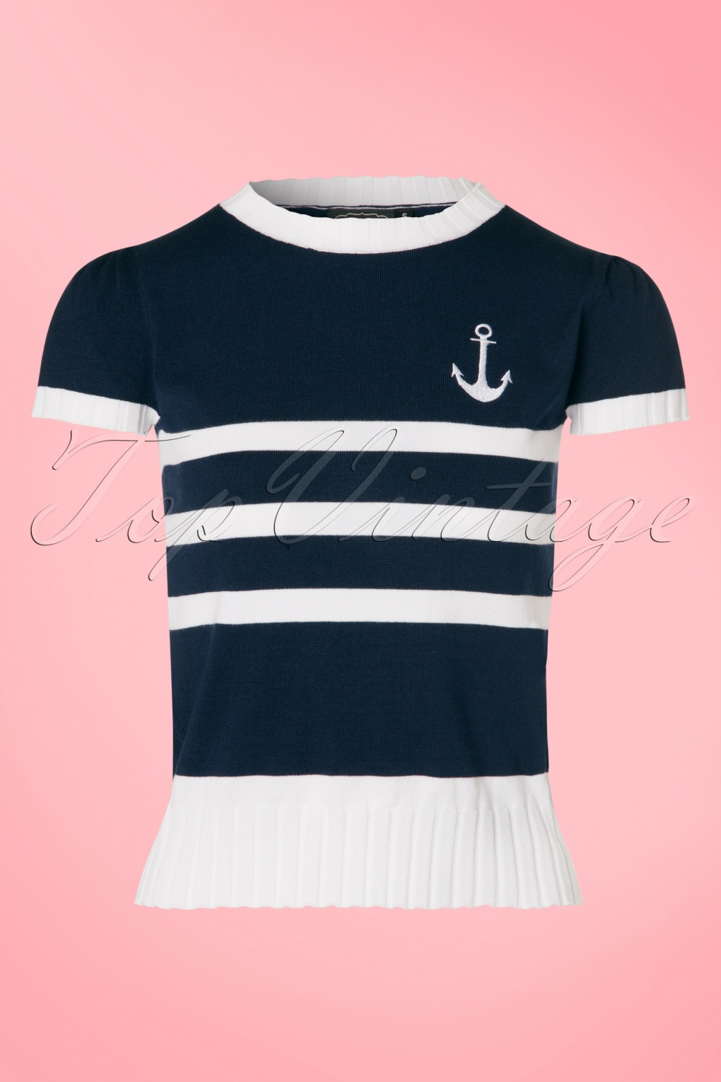 Vintage & Retro Shirts, Halter Tops, Blouses 50s Parker Sailor Sweater in Navy and White £28.57 AT vintagedancer.com
