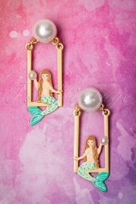 50s Little Mermaid On Her Swing And Pearl Earrings Gold Plated