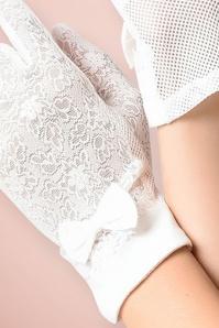 Unique Vintage White Lace Fabric Bow Wrist Gloves 250 50 21462 model03