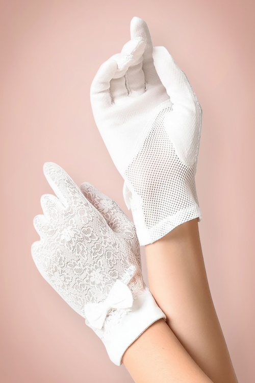 Unique Vintage White Lace Fabric Bow Wrist Gloves 250 50 21462 model01