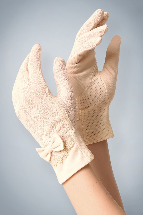 Unique Vintage Antique Ivory Fabric Bow Wrist Gloves 250 51 21463 model01
