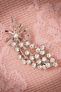 40s Flora Diamante Bouquet Brooch in Silver